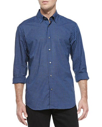 Micro-Grid-Check Poplin Shirt, Green