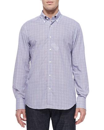 Button-Down Tattersall Shirt, White/Blue/Cranberry