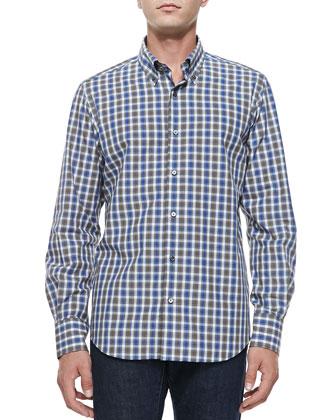 Button-Down Tattersall Shirt, Gray/Tan/Cream