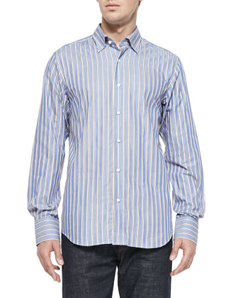 Button-Down Striped Shirt, Blue/Brown/White