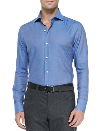 Solid Woven Shirt, Blue