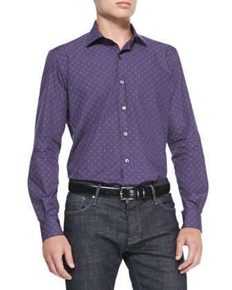 Diamond-Neat-Print Woven Shirt, Purple