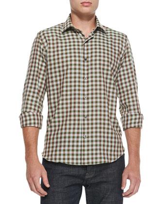 Gingham-Check Woven Shirt, Green/Gray
