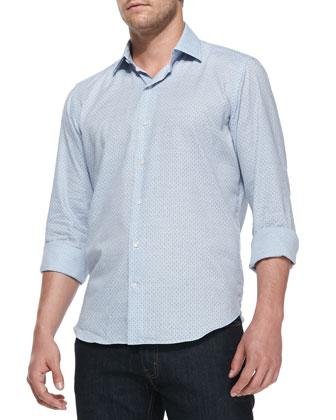 Floral-Print Herringbone Shirt, Light Blue