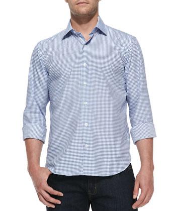 Gingham-Check Woven Shirt, Light Blue