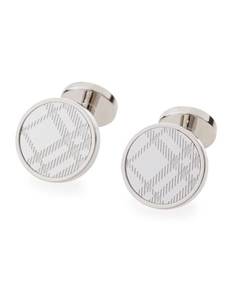 Round Check Cuff Links, Silver