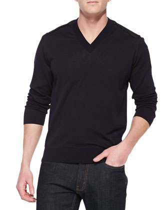 V-Neck Sweater with Contrast Back Panel, Navy