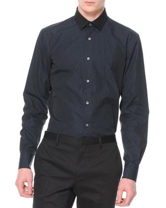 Contrast Collar Button-Down Shirt, Navy