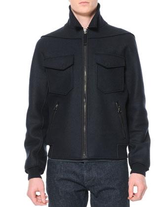 Felted Wool Bomber Jacket, Black