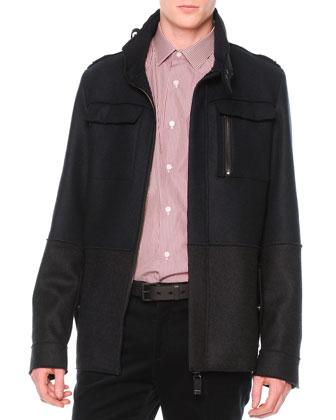 Colorblock Wool Field Jacket, Navy/Gray