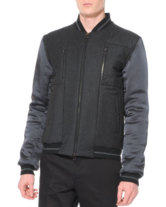 Wool and Satin Varsity Jacket, Gray
