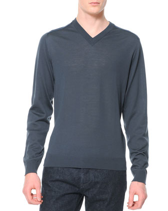Wool-Knit V-Neck Sweater, Bluish Gray