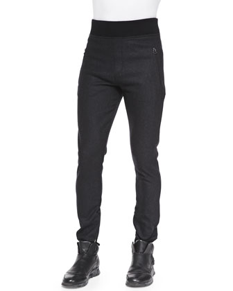 Double-Face Flannel Jogging Pants, Anthracite