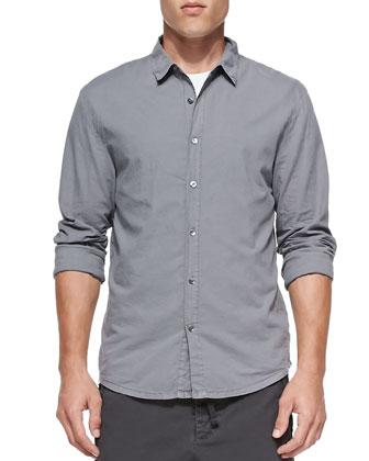 Woven Button-Down Shirt, Blue Gray