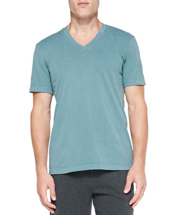 Combed Cotton V-Neck Tee, Green