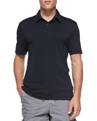 Short-Sleeve Jersey Polo, Navy