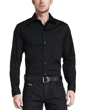 Stretch-Poplin Sport Shirt, Black