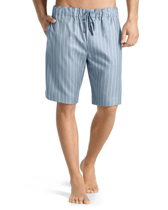 Sorrento Striped Lounge Shorts, Blue/Gray