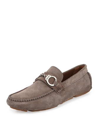 Brogan Suede Driver with Handcuff Detail, Gray