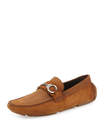 Brogan Suede Driver with Handcuff Detail, Brown