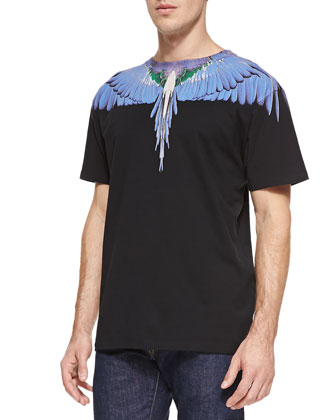 Feather-Print Jersey Tee, Black