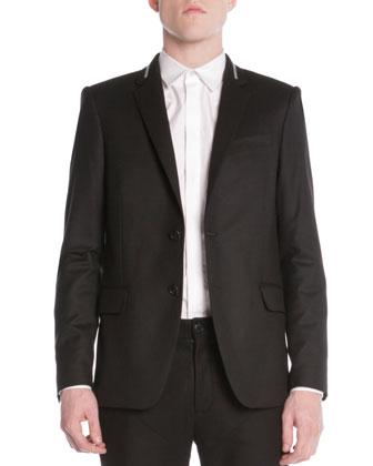 Wool Zipper-Detail 2-Button Blazer
