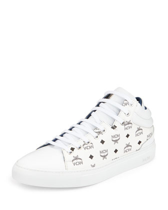 Monogrammed Low-Top Sneaker, White