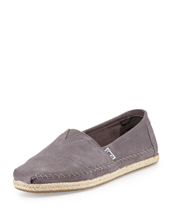 Classic Suede Rope-Sole Slip-On, Gray
