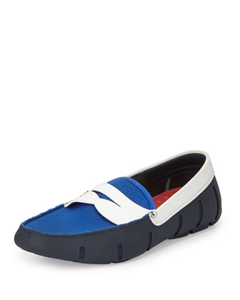 Mesh and Rubber Penny Loafer, Blue/White