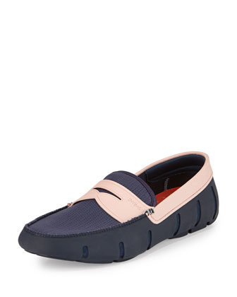 Mesh and Rubber Penny Loafer, Navy/Pink