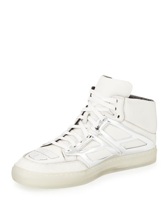 Leather Metallic-Plate High-Top Sneaker, White/Silver