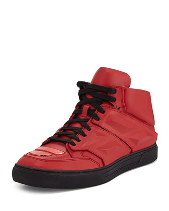 Exotron Leather Sneaker, Red