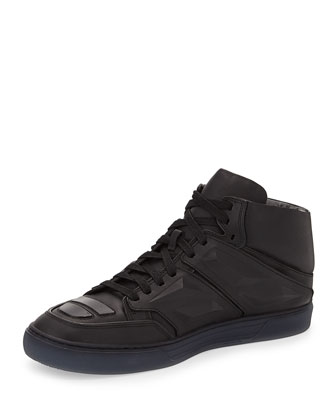 Exotron Leather High-Top Sneaker, Black