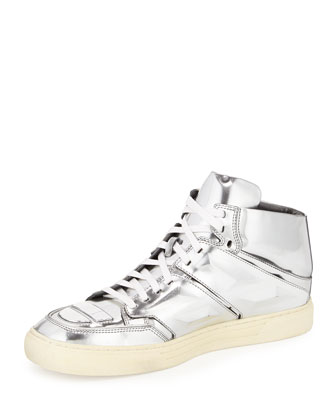 Exotron Leather High-Top Sneaker, Silver