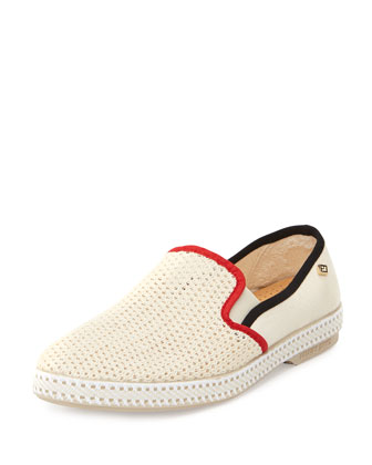 Hot Rod Crocheted Slip-On Canvas Sneaker, Beige