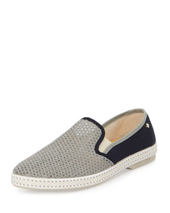Maltese Falcon Crocheted Slip-On Canvas Sneaker, Gray