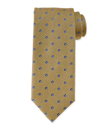 Small Flower-Print Tie, Mustard