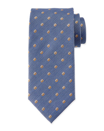Small Flower-Print Tie, Blue