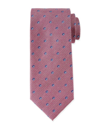 Small Flower-Print Tie, Red