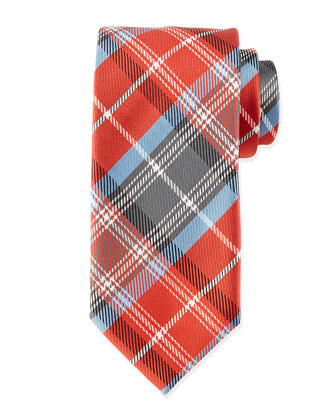 Plaid Silk Tie, Red Multi