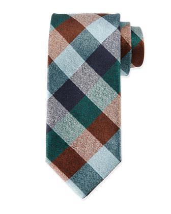 Multi-Check Silk Tie, Blue/Brown