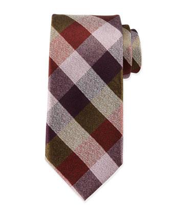 Multi-Check Silk Tie, Brown/Pink
