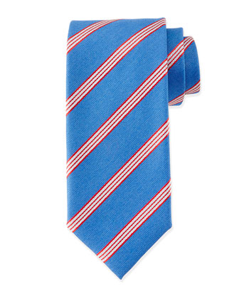 Textured Narrow-Stripe Silk Tie, Blue/Red