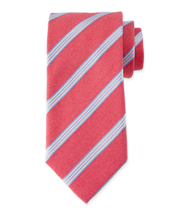Textured Narrow-Stripe Silk Tie, Red/Blue