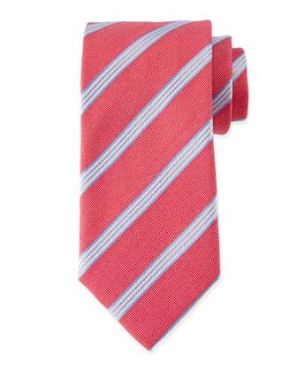 Textured Narrow-Stripe Silk Tie, Red/Blue