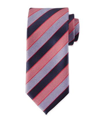 Textured Stripe Silk Tie, Red/Blue