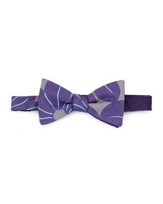 Pre-Tied Floral-Print Bow Tie, Purple/Gray