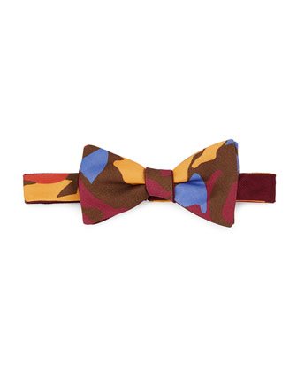 Pre-Tied Floral-Print Bow Tie, Red/Brown