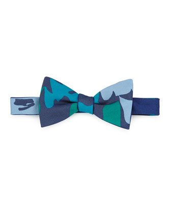 Pre-Tied Floral-Print Bow Tie, Green/Blue