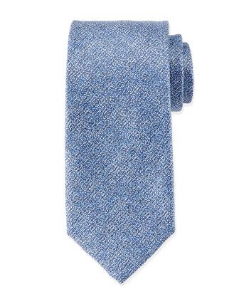 Melange Silk Tie, Blue